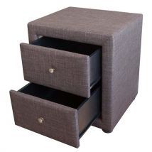 Homestyle4u Chambre à coucher de chevet Table d'appoint en tissu, Marron, simple - Tables de chevet