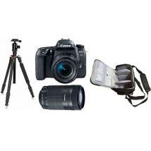 Canon EOS 77D + EF-S 18-55mm STM + EF-S 55-250mm STM + bolso de la cámara profesional + trípode