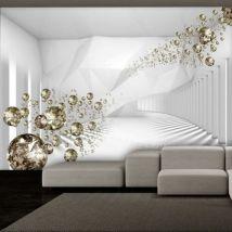 Papier peint - Diamond Corridor (Grey) .Taille : 400x280 - Décoration des murs