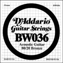 Corde au détail Guitare acoustique D'Addario Filée Bronze 036 80/20 - BW036 - Accessoire pour guitare