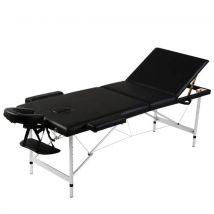 vidaXL Table de Massage Pliante 3 Zones Noir Cadre en Aluminium - Relaxation et massage