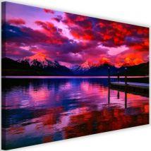 Tableau moderne imprimé sur toile Image Cadre déco Canevas Montagnes enneigées Lac Vue 4 90x60 - Décoration murale