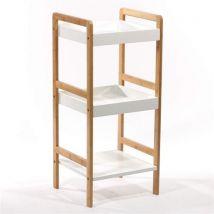 Etagère 3 niveaux en bambou véritable - Meubles de salle de bain