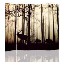 Feeby Séparateur de pièce décoratif Paravent déco, 5 parties deux faces, Animaux Forêt Automne 180x150 cm - Objet à poser