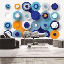 Papier peint | Geometry Of Blue Wheels | 400x280 | Fonds et Dessins | Géométrique - Décoration des murs