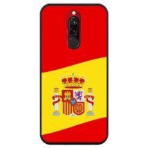 Funda Negra Hapdey Para Xiaomi Redmi 8 - 8a, Diseño Ilustración 2, Bandera De España, Flexible Tpu