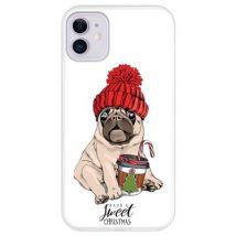 Hapdey Funda Transparente Para Iphone 11, Diseño Adorable Cachorro Pug - Have A Sweet Christmas