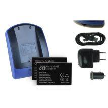 2 Baterìas + Cargador (usb/coche/corriente) Np-120 Np120 Para Easypix Dvx5050 Full Hd / Px 50