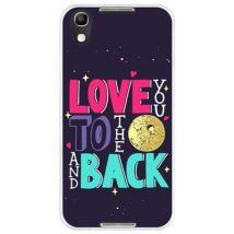 Funda Hapdey Para Alcatel Idol 4, Diseño Frase Romántica, Love You To The Moon And Back, Silicona Tpu