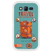 Funda Transparente Para Samsung Galaxy Grand Neo - Neo Plus, Diseño Equipaje De Viaje Vintage Con Etiquetas, Tpu