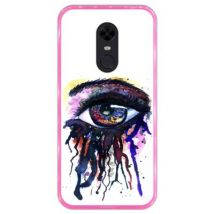 Funda Rosa Para Xiaomi Redmi 5 Plus, Diseño Salpicaduras De Ojos - Acuarela Y Tinta, Silicona Flexible Tpu