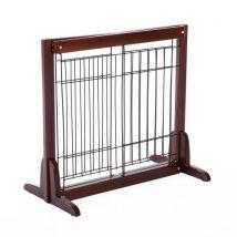 Barrière bois extensible rétractable barrière de sécurité 58-100L x 32l x 53H cm bois de pin métal - Colliers, harnais et laisses pour chien
