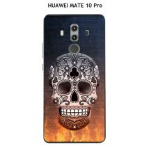 Coque HUAWEI MATE 10 Pro design Tete de mort fond feu
