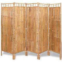 vidaXL Cloison de séparation 5 panneaux Bambou 200 x 160 cm