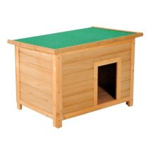 Niche pour chien en bois sur pied chenil toit ouvrant bitumé dim. 85L x 58l x 58H cm pin massif pré-huilé marron vert - Niches, cages, chenils et parc