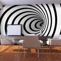 Papier peint | Tunnel 3D noir et blanc | 450x270 | - Décoration des murs