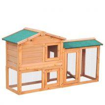 Clapier cage à lapins rongeurs 2 niveaux 3 portes verrouillables tiroir à déjection 145L x 45l x 85H cm bois massif pin - Lapins