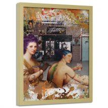 Feeby Image encadrée Art imprimé Tableau moderne cadre nature, Tatouage vert 50x70 cm - Décoration murale