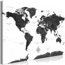 Tableau - Black and White Map (1 Part) Wide .Taille : 90x60 - Décoration murale