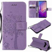 Etui En Cuir Multifonctionnel Motif Arbre Avec Dragonne Pour Samsung Galaxy S3/9300 - Violet Clair