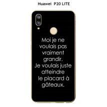 """Coque TPU gel souple Huawei P20 LITE design Citation """"Moi je ne voulais pas """" Texte blanc fond noir - Etui pour téléphone mobile"""