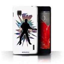Coque de Stuff4 / Coque/Etui/Housse pour LG Optimus G E975 / Elvis Blanc Design / Rock Star Pose Collection - Etui pour téléphone mobile