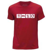 STUFF4 Hommes/Petit (S)/Rouge/Col Rond T-Shirt/Manger Sommeil Base-ball Répétition - T-Shirt