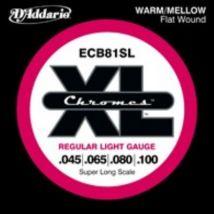 D'addario ECB81SL Chromes soft 40-100 - Jeu de cordes filet plat basse électrique diapason extra long - Accessoire pour guitare