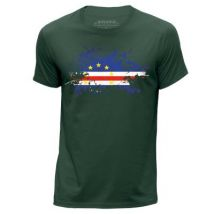 STUFF4 Hommes/Petit (S)/Vert Foncé/Col Rond T-Shirt/Cap Vert Drapeau Splat - T-Shirt