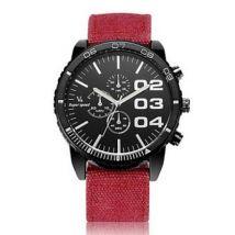 Montre Bracelet pour Hommes à Quartz analogique et Bande en Tissu Rouge - Montre Homme