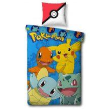 Pokemon Friends - Parure de Lit Enfant - Housse de Couette Coton - Accessoire Console de jeux