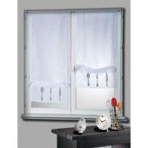 Voilage vitrage à passant polyester broderie couvert 50x130cm - lot de 2 CUISINE - Blanc - Rideaux et stores