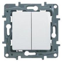 Legrand interrupteur double 10a niloé blanc avec enjoliveur finition éclat leg96602 - Equipements électriques domotique