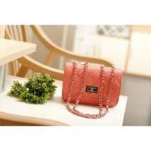 Citybag smilicuir rose clair aspect matelassé et chaines à fermoir métallique - Sac