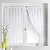 Voilage vitrage à passant rayure tissée 70x130cm + embrasse - lot de 2 BRUNELLE - Blanc - Rideaux et stores