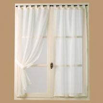Voilage vitrage à pattes étamine uni + embrasses ivoire - lot de 2 PETUNIA - 60x130cm - Rideaux et stores