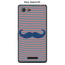 Coque Sony Xpéria E3 - Marinière Moustache - 3 Classic Blue - Etui pour téléphone mobile