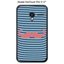 Coque Alcatel OneTouch PIXI 3 - 4'' - Marinière Moustache - 1 Strawberry Ice - Etui pour téléphone mobile