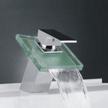 Robinet d'évier avec bec en verre, style contemporain et finition en métal chromé - Robinetterie