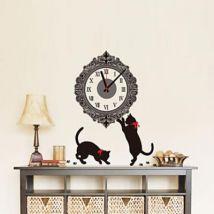 Horloge murale de style contemporain à motif chats en plastique noir - Pendule et horloge