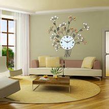 Horloge murale à design floral en fer forgé - Décoration murale