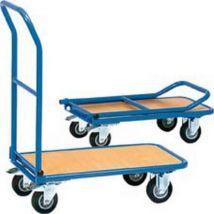 Chariot en tube d'acier avec arceau rabattable, Capacité : 150 kg, Dimensions 815 x 470 x 930 mm, Plateau 720 x 450 mm, O de roue : 125 mm, Poids : 16