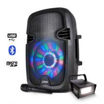 Enceinte mobile batterie 300W à LEDs USB/BT/FM/SD + Stroboscope 20W - Enceinte compacte