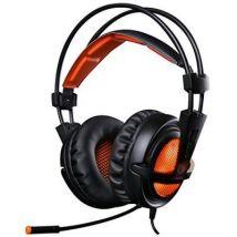 Micro-Casque Gaming Casque à l'écoute Ultra-léger 3.5mm Hi-Fi Headset avec LED idéal pour les Amateurs de Jeu (Noir+Orange) - Manette PC