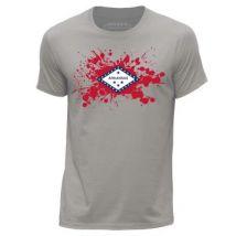 STUFF4 Hommes/XXX Grande (3XL)/Gris Clair/Col Rond T-Shirt/Etats-Unis/Arkansas Drapeau Splat - T-Shirt