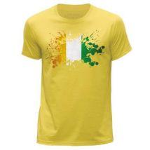 STUFF4 Hommes/X Petite (XS)/Jaune/Col Rond T-Shirt/Cote-d'Ivoire Drapeau Splat - T-Shirt