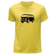 STUFF4 Hommes/X Grande (XL)/Jaune/Col Rond T-Shirt/Stencil Art voiture / VW T1 Camping - T-Shirt