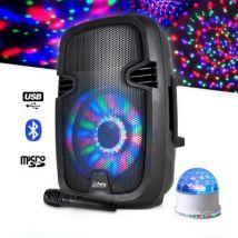 """Enceinte batterie 8"""" à LEDs 300W USB/BT/FM + Micro + Jeu UFO/ASTRO RVB - Enceintes, baffle et amplis"""