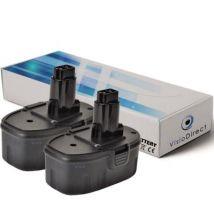 Lot de 2 batteries pour DEWALT DC550 perceuse visseuse sans fil 3000mAh 18V - Visiodirect - - Chargeurs, batteries et socles