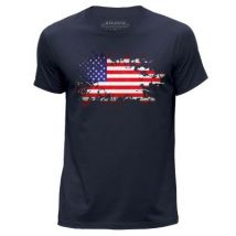 STUFF4 Hommes/XX Grande (XXL)/Bleu Marin/Col Rond T-Shirt/USA American Drapeau - T-Shirt
